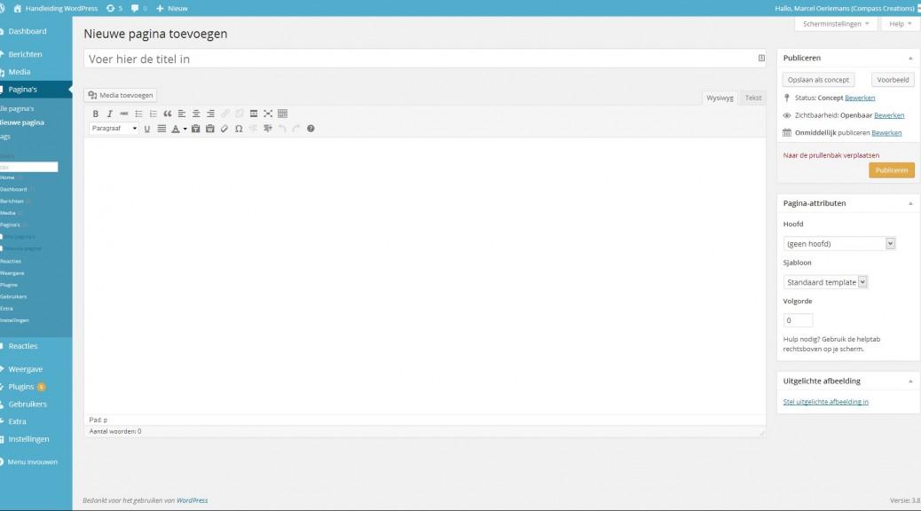 WordPress paginas - nieuwe pagina toevoegen - Handleiding Wordpress door Compass Creations webdesign Gouda