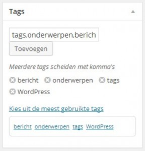 WordPress tags onderwerpen toevoegen bewerken - Handleiding WordPress door Compass Creations webdesign Gouda